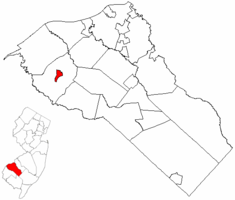 Swedesboro highlighted in Gloucester County. Inset map: Gloucester County highlighted in the State of New Jersey.