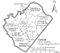 Map of Lee County North Carolina With Municipal and Township Labels.PNG