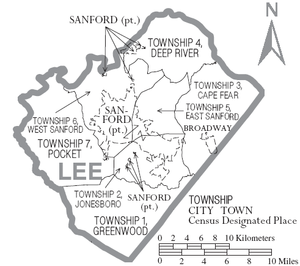 Lee County, North Carolina - Map of Lee County, North Carolina, with municipal and township labels