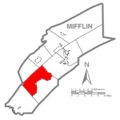 Map of Mifflin County Pennsylvania Highlighting Oliver Township.PNG