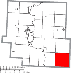 Location of Meigs Township in Muskingum County
