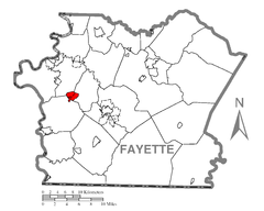 Map of New Salem-Buffington, Fayette County, Pennsylvania Highlighted.png