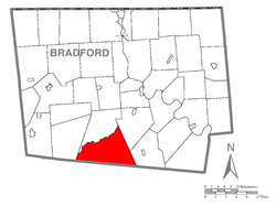 Map of Bradford County with Overton Township highlighted