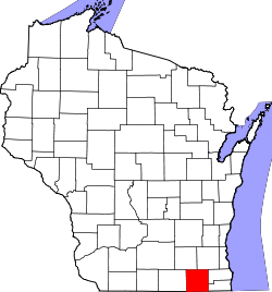 Map of Wisconsin highlighting Walworth County.svg
