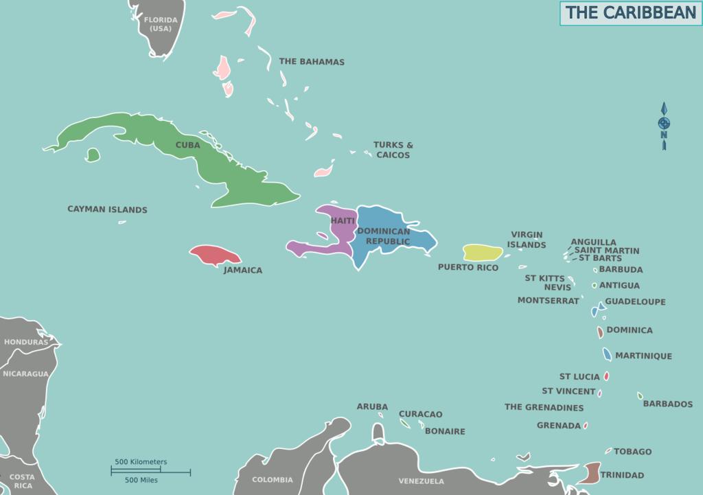 Übersichtskarte der Karibik