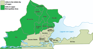 City of Lagos showing main urban areas