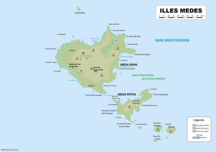 Topographic map of Medes Islands