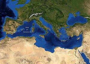 Sea of Sardinia - Map of the Sea of Sardinia.