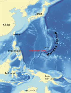 Challenger Deep - Location of Challenger Deep within the Mariana Trench and Western Pacific Ocean