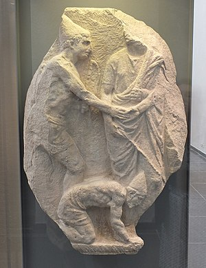 Manumission - Relief depicting the manumission of two slaves (1st century BC, Musée de Mariemont)