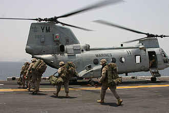 Boeing Vertol CH-46 Sea Knight - U.S. Marines of the 24th Marine Expeditionary Unit boarding a CH-46, August 2006