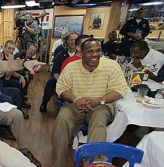 William Henderson (American football) - William Henderson and sailors watch Super Bowl XXXIX in the galley of USS ''Russell''.