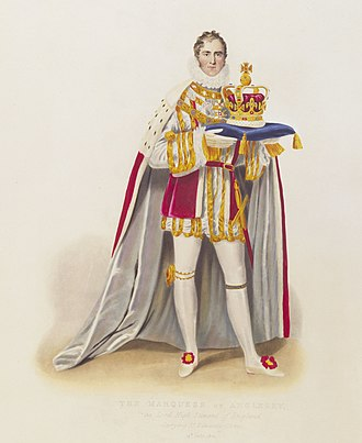St Edward's Crown - Image: Marquess of Anglesey carrying St Edward's Crown