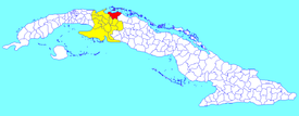 Martí municipality (red) within  Matanzas Province (yellow) and Cuba