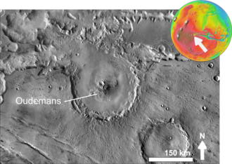 Oudemans (crater) - Crater Oudemans based on THEMIS day-time image