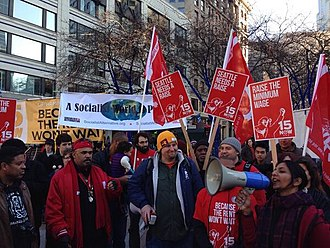 Living wage - March for a living wage in Seattle, United States. (2014)