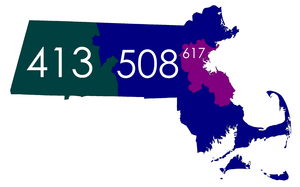 Area codes 508 and 774 - Map showing the 508 area code from its inception in July 1988 until it was split in September 1997