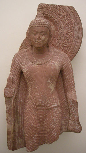 Physical characteristics of the Buddha - Sculpture of the Buddha from Mathura, India. 5th or 6th century CE