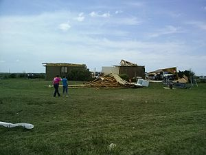 Tornadoes of 2013 - A home largely destroyed by an EF4 tornado that touched down near Rozel, Kansas on May 18