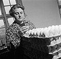 Medewerkster bezig met het inpakken van eieren, Bestanddeelnr 252-9081.jpg
