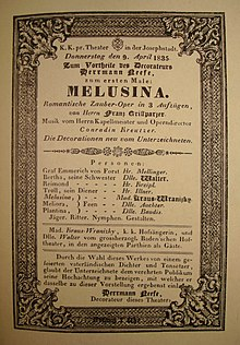 "Poster of the play Melusina, ""Romantic magic opera"" in 3 acts, libretto by Franz Grillparzer, music by Conradin Kreutzer (Representation of April 9, 1835). (Source: Wikimedia)"