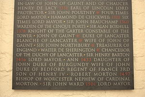 Sir John de Pulteney - Poultney's name listed on the Memorial to graves destroyed in Old St Paul's Cathedral