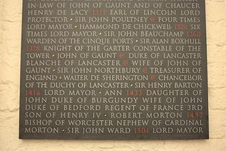 Robert Morton (bishop) - Morton's  name on the Memorial to graves destroyed in Old St Paul's Cathedral