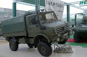 Arms industry - Unimog truck at the International Defence Industry Fair (IDEF) in 2007.