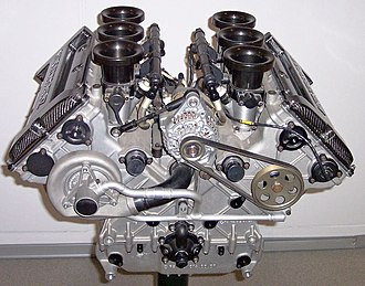 Engine - A V6 internal combustion engine from a Mercedes-Benz