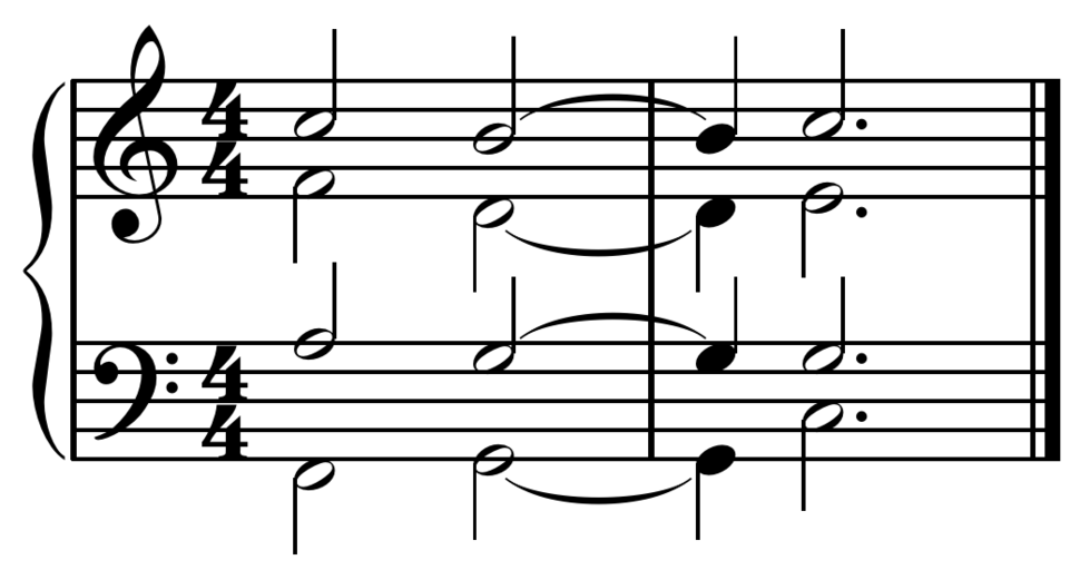 Metrically unaccented perfect authentic cadence in C