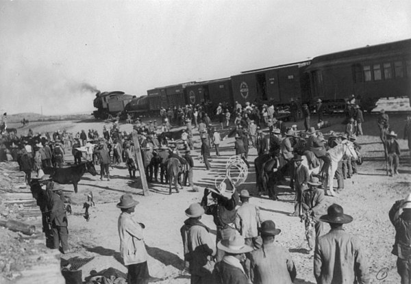 Rebel soldiers moving by rail during the Mexican Revolution. MexicoRevolutionRail.jpg