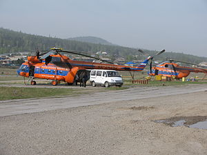 Mi-8 helicopters in Boguchany Airport.jpg