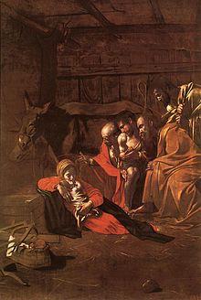 Peinture représentant une étable, dans laquelle sont présents un bœuf, un âne et des bergers qui se prosternent devant une mère et son bébé.