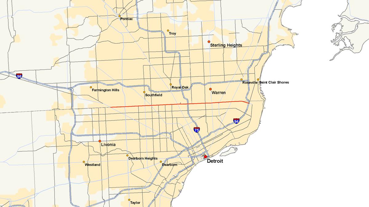 Metro Detroit Traffic Map.M 102 Michigan Highway Wikipedia