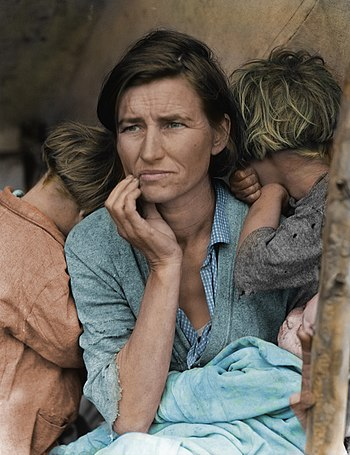 English: Colorized version of Great Depression...