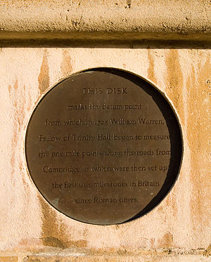 Church of St Mary the Great, Cambridge - A plaque at the base of the west tower marks the datum point for distances from Cambridge, which were originally marked with the first milestones erected in Britain since the Romans left.