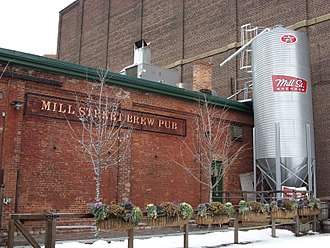 Cuisine in Toronto - The back of Mill Street Brewery Brew Pub in Toronto's Distillery District. Mill Street is one of several breweries based in Toronto.