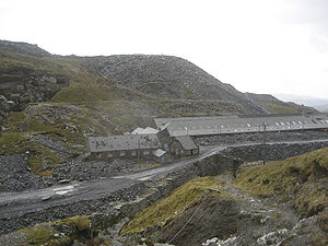 Maenofferen Quarry - The abandoned Maenofferen slate cutting mill, seen from the Rhiwbach Tramway No. 3 incline, 2007