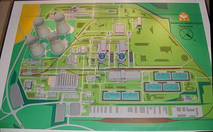 Temelín Nuclear Power Station - Model of the plant at the information center. The light green area was originally intended for the two unbuilt reactors.
