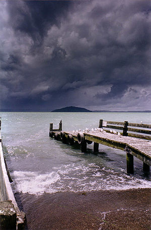 Mokoia Island - Mokoia under stormy skies, seen from the south