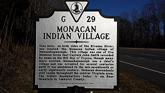 Monacan Indian Nation - Historical marker near the site of the Monacan village of Monasukapanough in northern Albemarle County, Virginia.