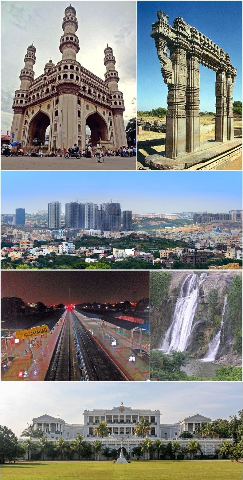 Montage of Telangana sidewise from left: Charminar, Warangal Fort, Hyderabad city, Nizamabad Railway Station, Kuntala Waterfalls, Falaknuma Palace