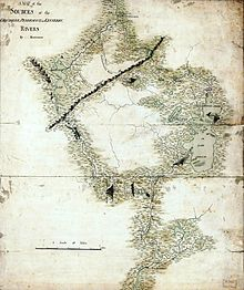 This manuscript map shows the highland area that Arnold had to cross.  Montresor's route is traced, being roughly similar to Arnold's eventual route traversing the Kennebec, Dead, and Chaudière Rivers.