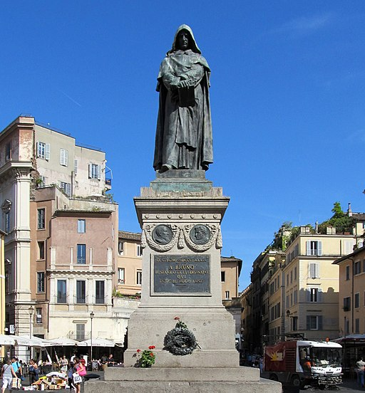 Monument to Giordano Bruno in Campo de' Fiori square - Rome, Italy - 6 June 2014 rectified
