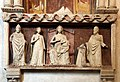 Monumento funebre dell'abate francese tommaso gallo, 1350 ca. 07 madonna in trono, tre santi e l'abate offerente 01.jpg