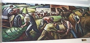 Northwest School (art) - Carl Morris Agriculture, c. 1941–42, mural, Eugene, Oregon post office