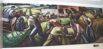 Northwest School (art) - Carl Morris Agriculture, c. 1941–42, mural, Eugene, Oregon post office