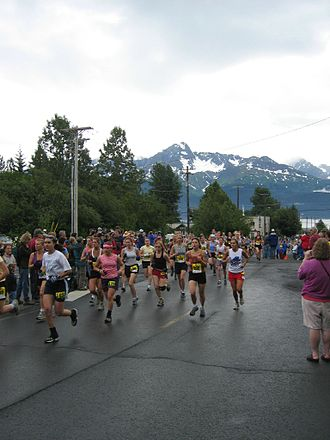 Mount Marathon Race - Runners shortly after the start of the race