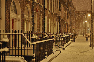 Mountjoy Square - The south side of Mountjoy Square, in the snow of January 2010