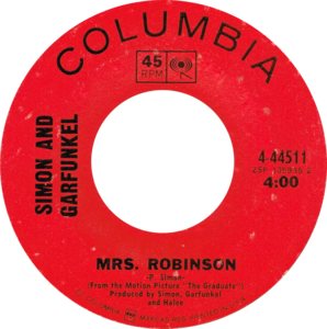 Mrs Robinson by Simon and Garfunkel US vinyl (The Graduate credit).png
